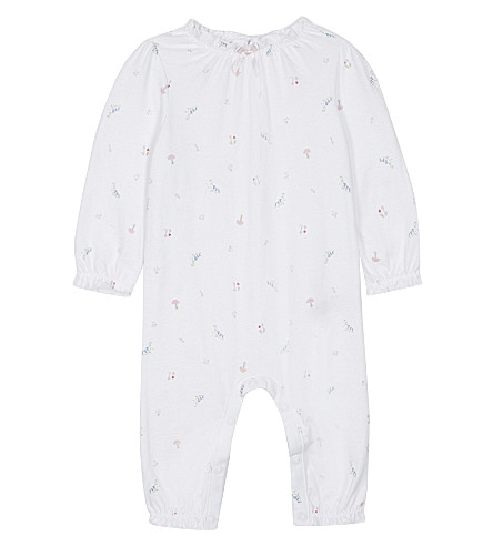 THE LITTLE WHITE COMPANY Woodland print cotton sleep suit 0-18 months (Multi