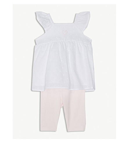 THE LITTLE WHITE COMPANY Woven heart top & leggings set 0-24 months (White/+pink