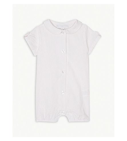 THE LITTLE WHITE COMPANY Seersucker cotton-blend shortall 0-24 months (Whisper+pink