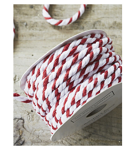 THE WHITE COMPANY Candy-cane butchers twine 10m (White/+red
