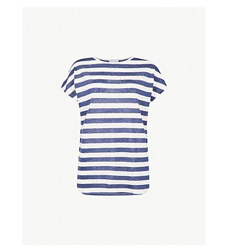 THE WHITE COMPANY Striped linen T-shirt (Blue+stripe