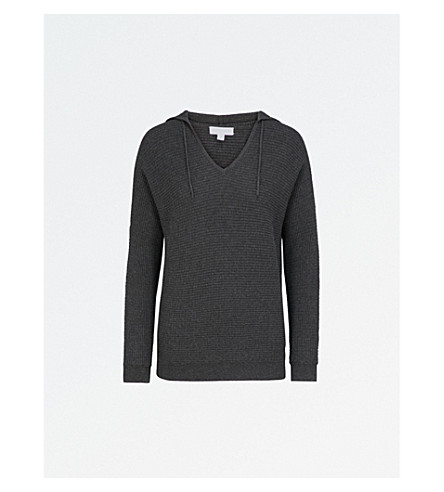 THE WHITE COMPANY V-neck cotton-blend hoody (Darkcharcmarl