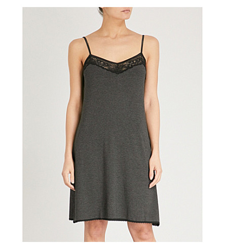 THE WHITE COMPANY Lace-trimmed stretch-jersey night dress (Darkcharcmarl
