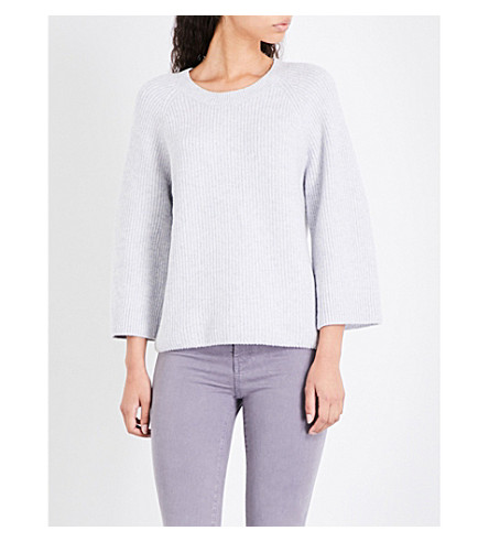 THE WHITE COMPANY Ribbed knitted jumper (Pale+grey+marl
