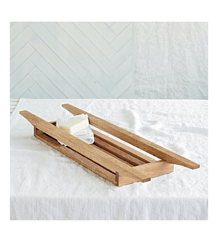THE WHITE COMPANY Oak wooden bath tidy 70cm (Natural