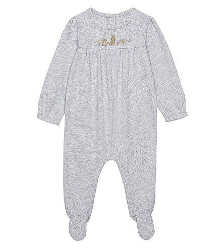 THE LITTLE WHITE COMPANY Embroidered woodland sleep suit 0-18 months (Multi