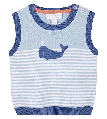 THE LITTLE WHITE COMPANY Whale print striped cotton tank top 0-24 months (Blue