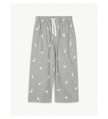 THE LITTLE WHITE COMPANY Stag print cotton pyjama bottoms 2-6 years (Grey