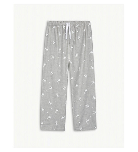 THE LITTLE WHITE COMPANY Stag print cotton pyjama bottoms 7-12 years (Grey