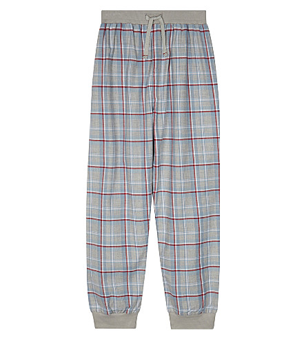 THE LITTLE WHITE COMPANY Checked cotton lounge pants 7-12 years (Grey