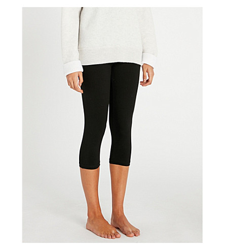 THE WHITE COMPANY Roll-top stretch-cotton leggings (Black