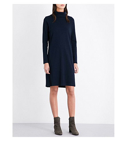 THE WHITE COMPANY Roll-neck cotton-jersey dress (Navy