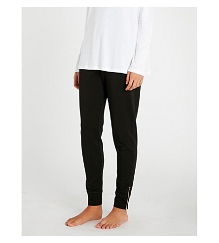 THE WHITE COMPANY Zip-detail stretch-cotton jogging bottoms (Black