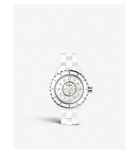 CHANEL H2570 J12 29mm mother-of-pearl and Diamond Dial high-tech ceramic, steel and diamond watch