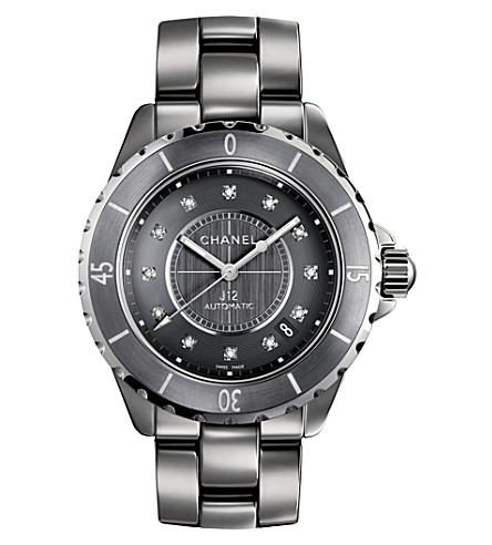 CHANEL H3242 J12 38mm Chronograph Diamond Dial titanium and high-tech ceramic watch