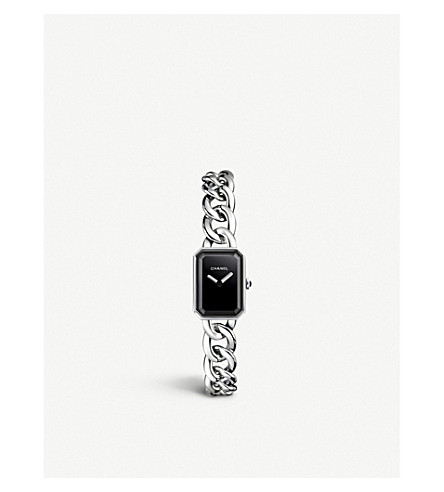 CHANEL H3248 Première Chain steel, black lacquer and onyx watch