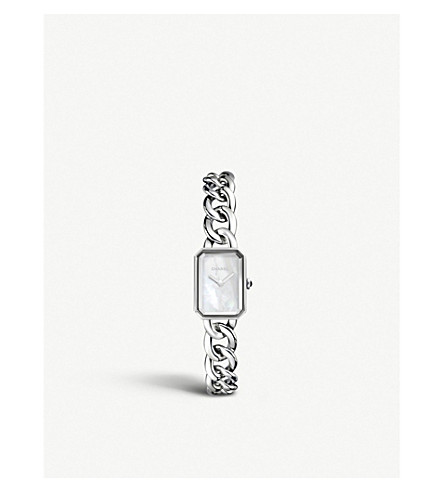 CHANEL H3249 Première Chain steel, mother-of-pearl and onyx watch