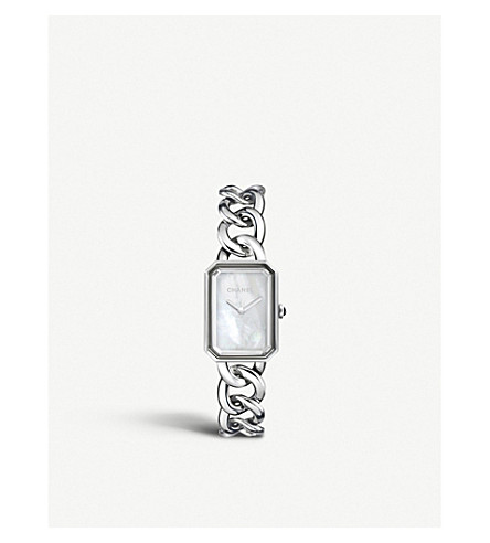 CHANEL H3251 Première Chain steel, mother-of-pearl and onyx watch