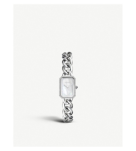 CHANEL H3253 Première Chain steel, mother-of-pearl, onyx and diamond watch