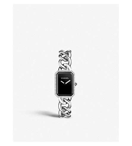 CHANEL H3254 十万火急链钢, 黑漆, 玛瑙和钻石手表
