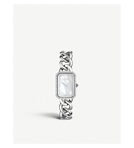 CHANEL H3255 Première Chain steel, mother-of-pearl and diamond watch