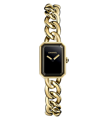 CHANEL H3256 Première Chain 18ct yellow-gold, black lacquer and onyx watch
