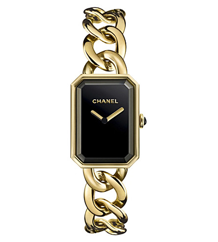 CHANEL H3257 Première Chain 18ct yellow-gold, black lacquer and onyx watch
