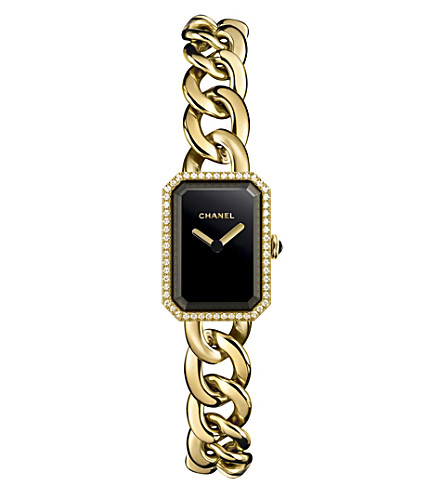 CHANEL H3258 Première Chain 18ct yellow-gold, black lacquer, onyx and diamond watch