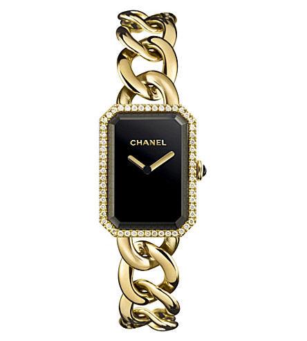 CHANEL H3259 Première Chain 18ct yellow-gold, black lacquer, onyx and diamond watch