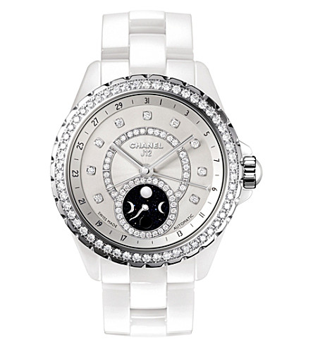 CHANEL H3405 J12 38mm Moonphase diamond, high-tech ceramic and steel watch