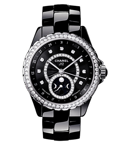 CHANEL H3407 J12 38mm Moonphase diamond, high-tech ceramic and steel watch