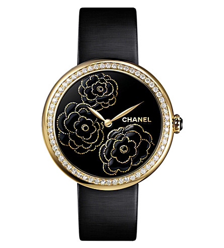 CHANEL H3567 Mademoiselle Privé Camélia Lesage 18ct yellow-gold, diamond and satin watch