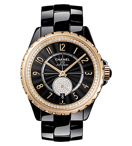 CHANEL H3842 J12 36.5mm 365 high-tech ceramic, 18ct beige-gold and diamond watch