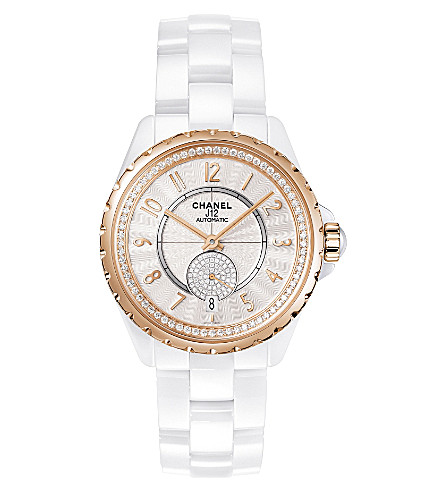CHANEL H3843 J12 36.5mm 365 high-tech ceramic, 18ct beige-gold and diamond watch