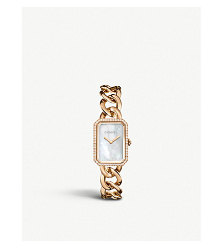 CHANEL H4412 Première Chain 18ct beige gold, diamond and mother-of-pearl watch