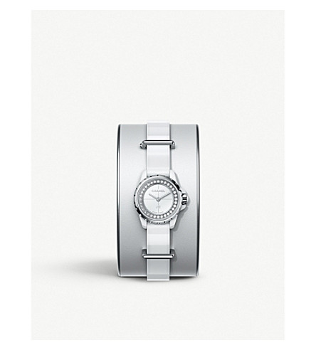 CHANEL H4664 J12 White 19mm high-tech ceramic, steel, diamond and leather cuff watch