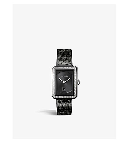 CHANEL H5318 BOY•FRIEND Tweed Medium Size steel and diamond watch