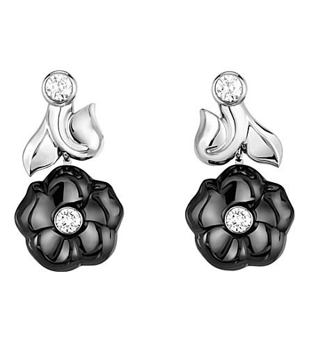 CHANEL Camélia Galbé 18K white gold, diamond and black ceramic earrings