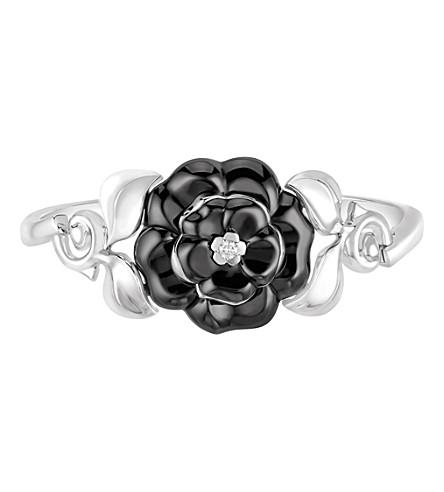 CHANEL Camélia Galbé 18K white gold, diamond and black ceramic bracelet