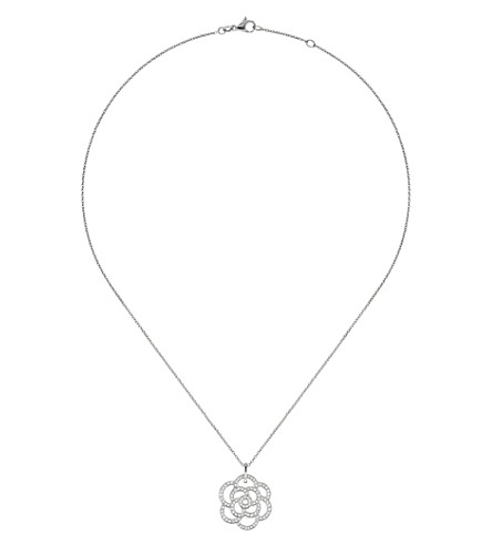 CHANEL Camélia 18K white gold and diamond pendant