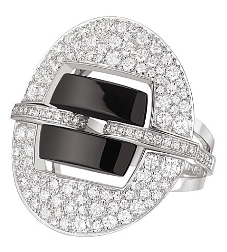 CHANEL Ultra 18K white gold, black ceramic and diamond ring