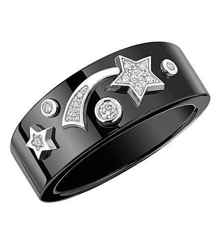 CHANEL Cosmique de Chanel 18K white gold, black ceramic and diamond ring