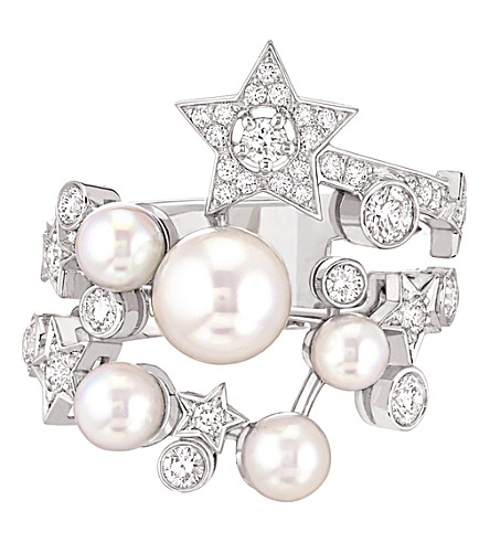 CHANEL Comète 18K white gold, cultured pearl and diamond ring