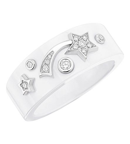 CHANEL Cosmique de Chanel 18K white gold, white ceramic and diamond ring