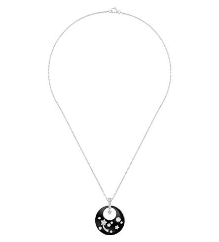 CHANEL Cosmique de Chanel 18K white gold, black ceramic and diamond pendant