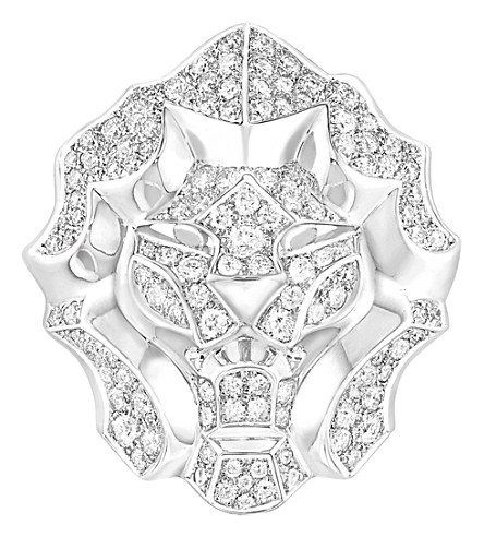CHANEL 狮子18K 白金和钻石戒指。大版本