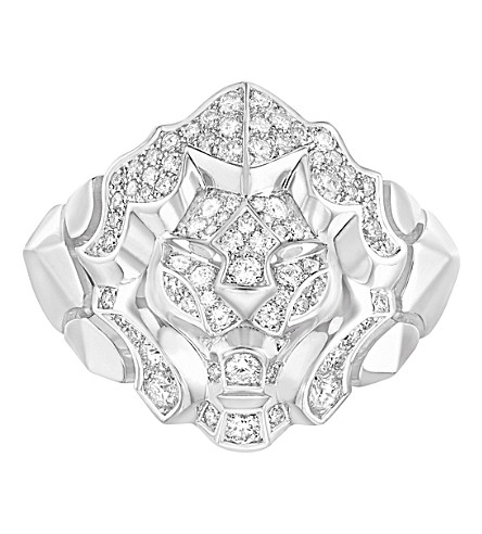 CHANEL Lion 18K white gold and diamond ring. Medium version
