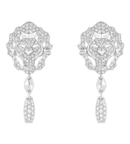 CHANEL Lion 18K white gold and diamond earrings