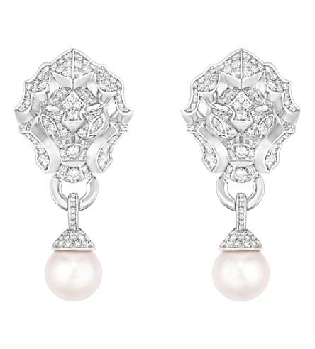 CHANEL 狮子18K 白金, 钻石和养殖珍珠耳环
