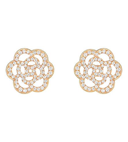 CHANEL Camélia 18K pink gold and diamond earrings